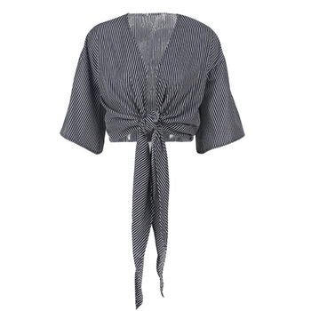 цена на Blouse Women Ladies Lace Up Satin Tie Knot Front short Sleeve v Neck Striped laced sunscreen shirt One-piece tie womans shirt