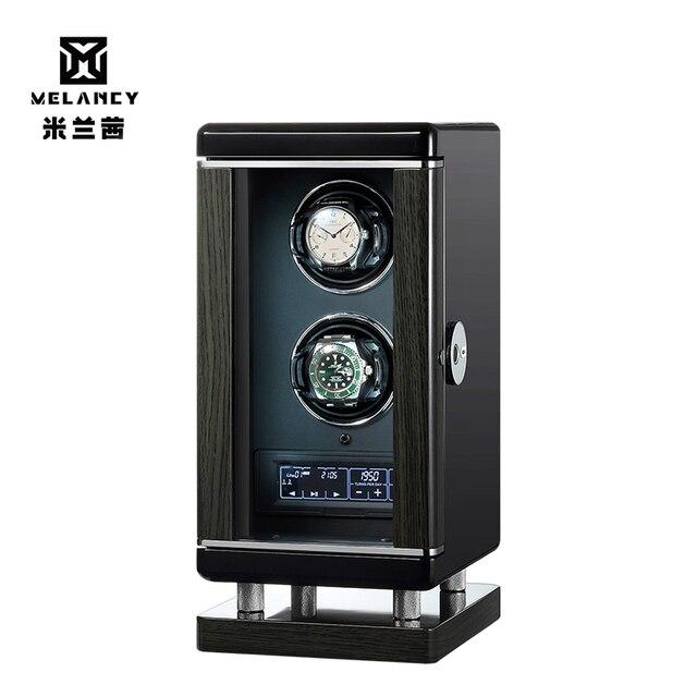 Nuevo Producto, bobinadora de reloj doble negra para relojes automáticos, caja de relojes doble, caja de exhibición para joyería o reloj