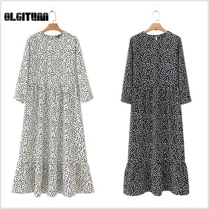 2020 Hot Style women Dot Printed Three Quarter Sleeve O-Neck Maxi Dress Spring Casual Female Straight Ankle Length Dresses