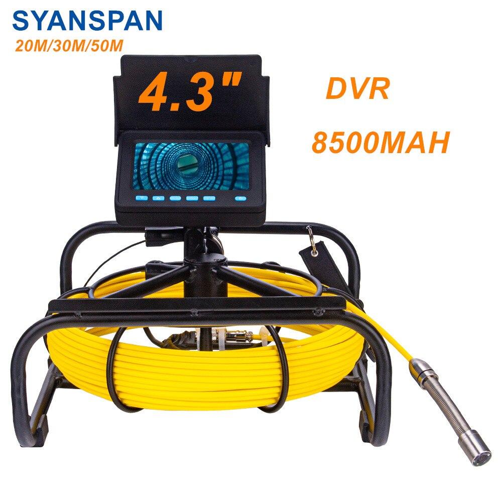 Câmera da inspeção da tubulação com cartão de dvr 16gb ft, bateria industrial do endoscópio ip68 8500mha do dreno de esgoto de syanspan 10/20/30/50m