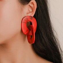 Fashion Simple Elliptical Acrylic Earrings Personality Design Hollow Geometric Jewelry Women Accessories