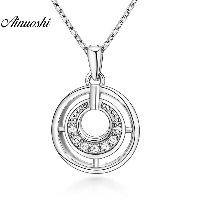 AINUOSHI 14K Solid White/Yellow Gold Circles Charm Simulated Diamond Women Men Fine Jewelry Concentric Circles Separate Pendant