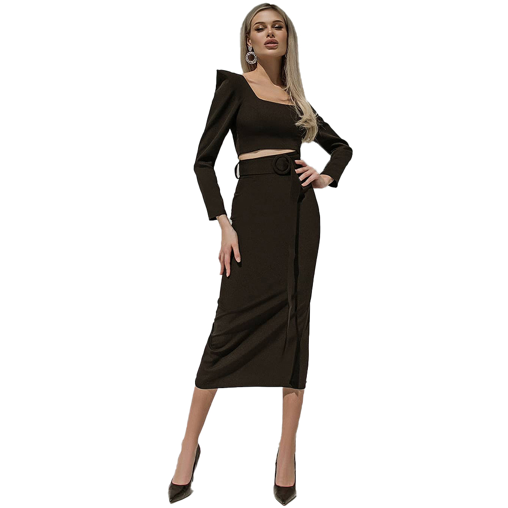 Square collar Evening Dresses Custom Made elegant Chiffion full-sleeve ankle length belt New hot sale items in autumn B21113