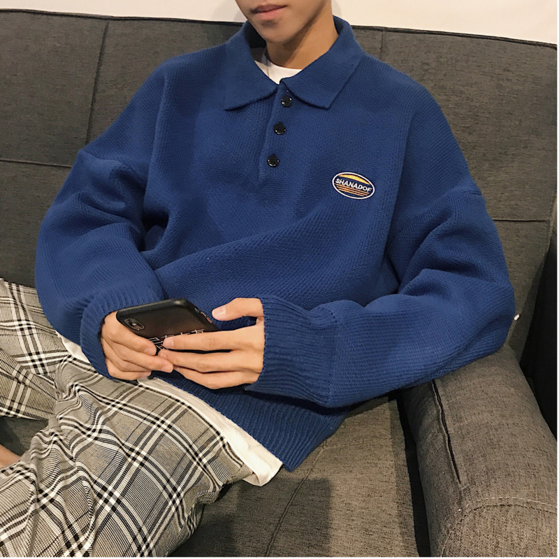 Men's Sweater 2019 Autumn And Winter New Loose Pullover Sweater Lapel Long Sleeve Sweater Youth Personality Trend Men's Clothing
