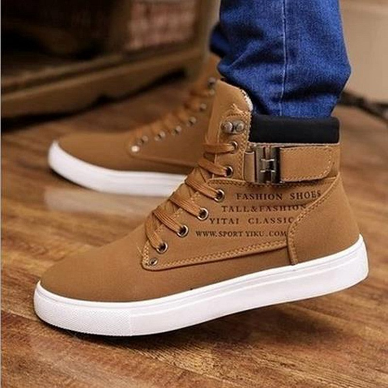 Mens Casual Shoes Lace up High Top Men Shoes Fashion Sneakers 2019 Autumn Comfortable Non slip Canvas Male Shoes Big Size 38 47 in Men 39 s Casual Shoes from Shoes