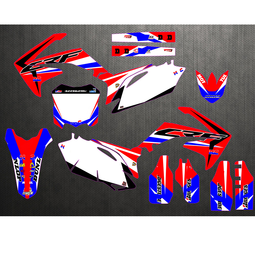 Motorcycle New Team Graphics Background Decal Sticker Kit For  Honda CRF250 CRF250R CRF450 CRF450R CRF 250 450 2010 2011 2012Decals