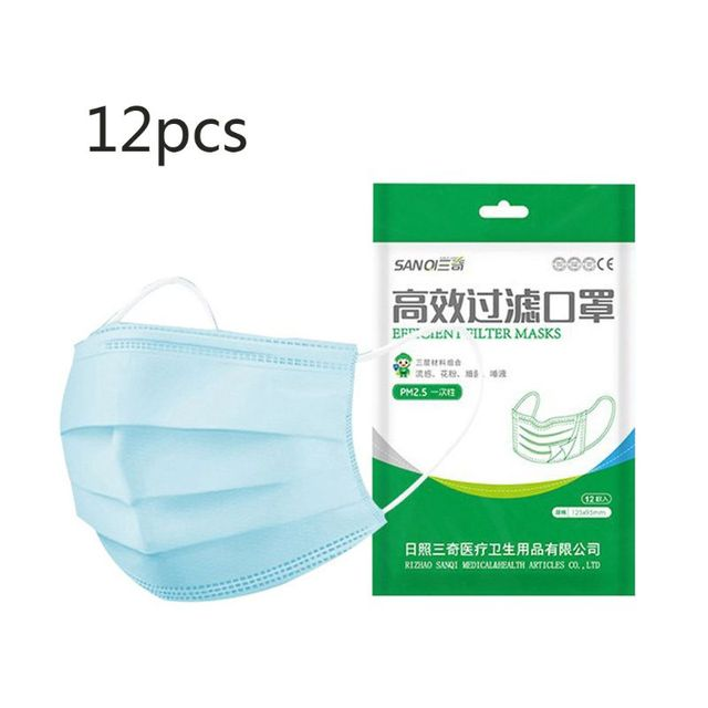 12Pcs Child Size Anti-dust Safe Breathable 3-Layer Anti Flu Mouth Mask Disposabl