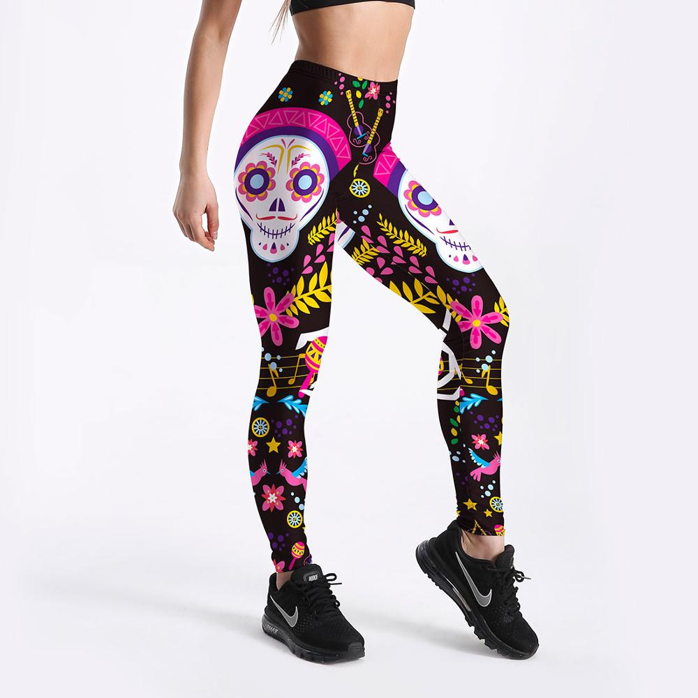 Sportswear Comic Monkey Skull  Women Fitness Workout Fashion Leggings Digital Print Push Up Women Elastic Force Legging