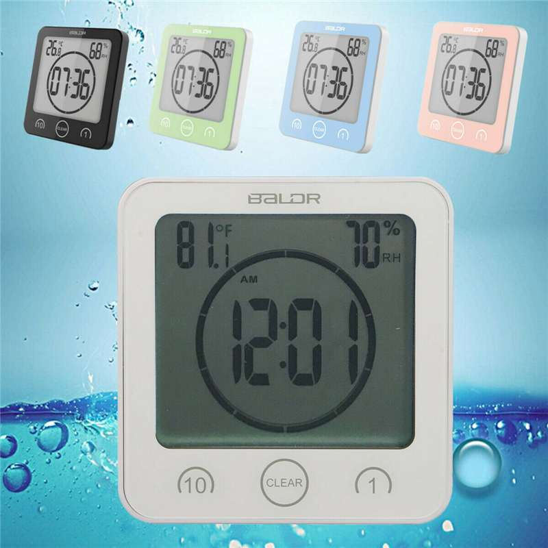 Waterproof LCD Digital Wall Clock Shower Suction Wall Stand Alarm Timer Temperature Humidity Bath Weather Station for Home|Temperature Gauges| |  - title=