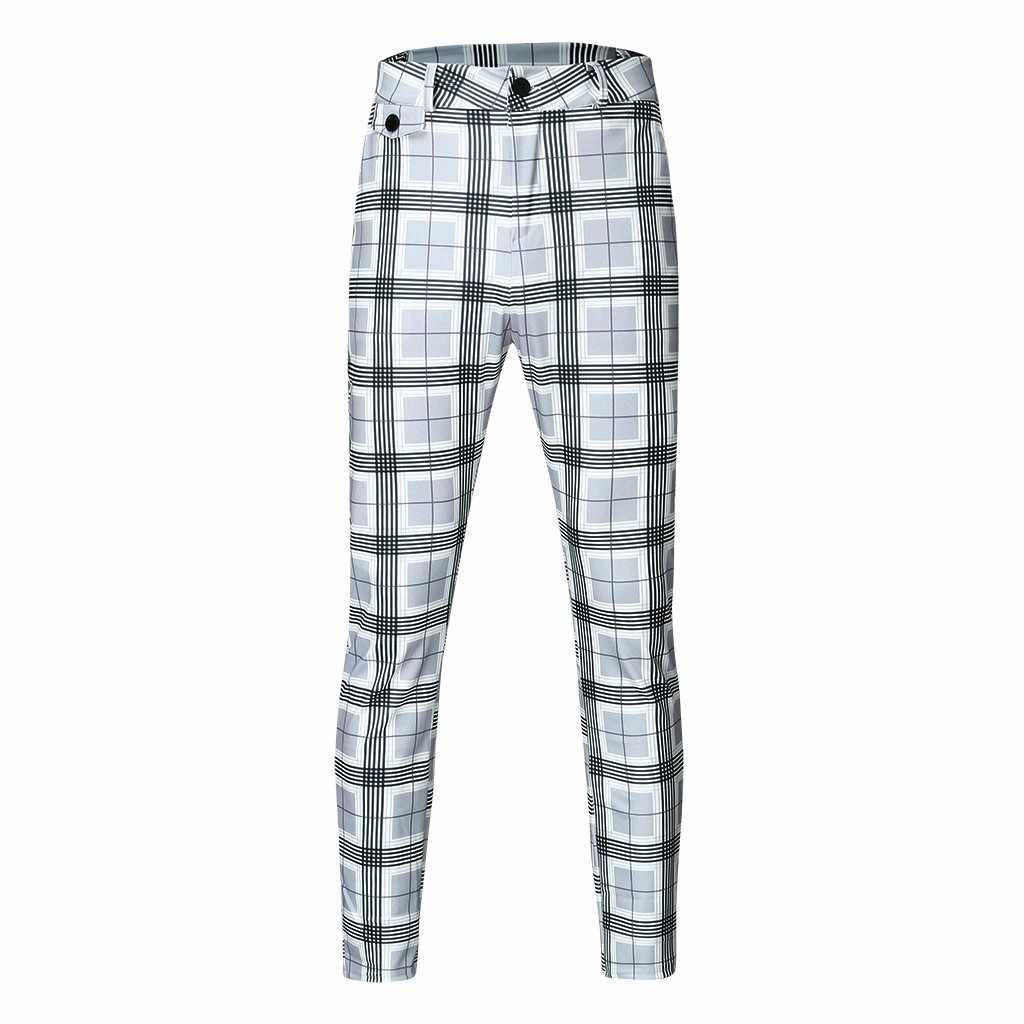 クールメンズカジュアルスリムフィットチェック柄プリントフィットネス柔軟な男性パンツ 2019 通気性プラスサイズパンツケージズボン