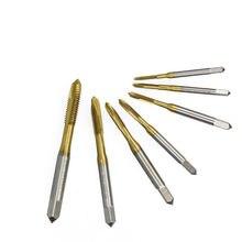 1pc M2 / M2.5 / M3 / M3.5 / M4 / M5 / M6 Titanium Coated Hand Faucet Hss Metric Straight Flute Threaded Tap