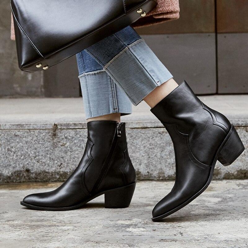 AIWEIYi nouvelle mode femmes bottes tête ronde épais talons hauts en cuir véritable Martin bottes noir moto bottes