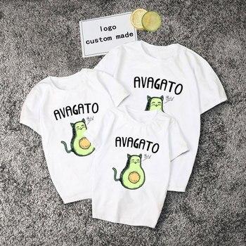 Cute Avocado Print Summer T Shirts Family Matching Clothes White Casual T Shirt Boys Girls Matching Outfits T Shirt Women Tshirt