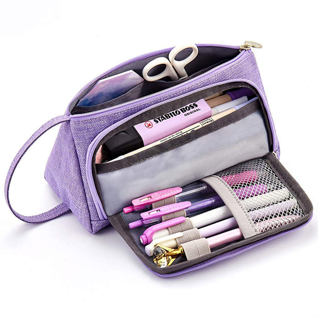 Big Capacity Pencil Pen Case Bag For Middle High School Office College Girl School Supplies Stationery Estuches