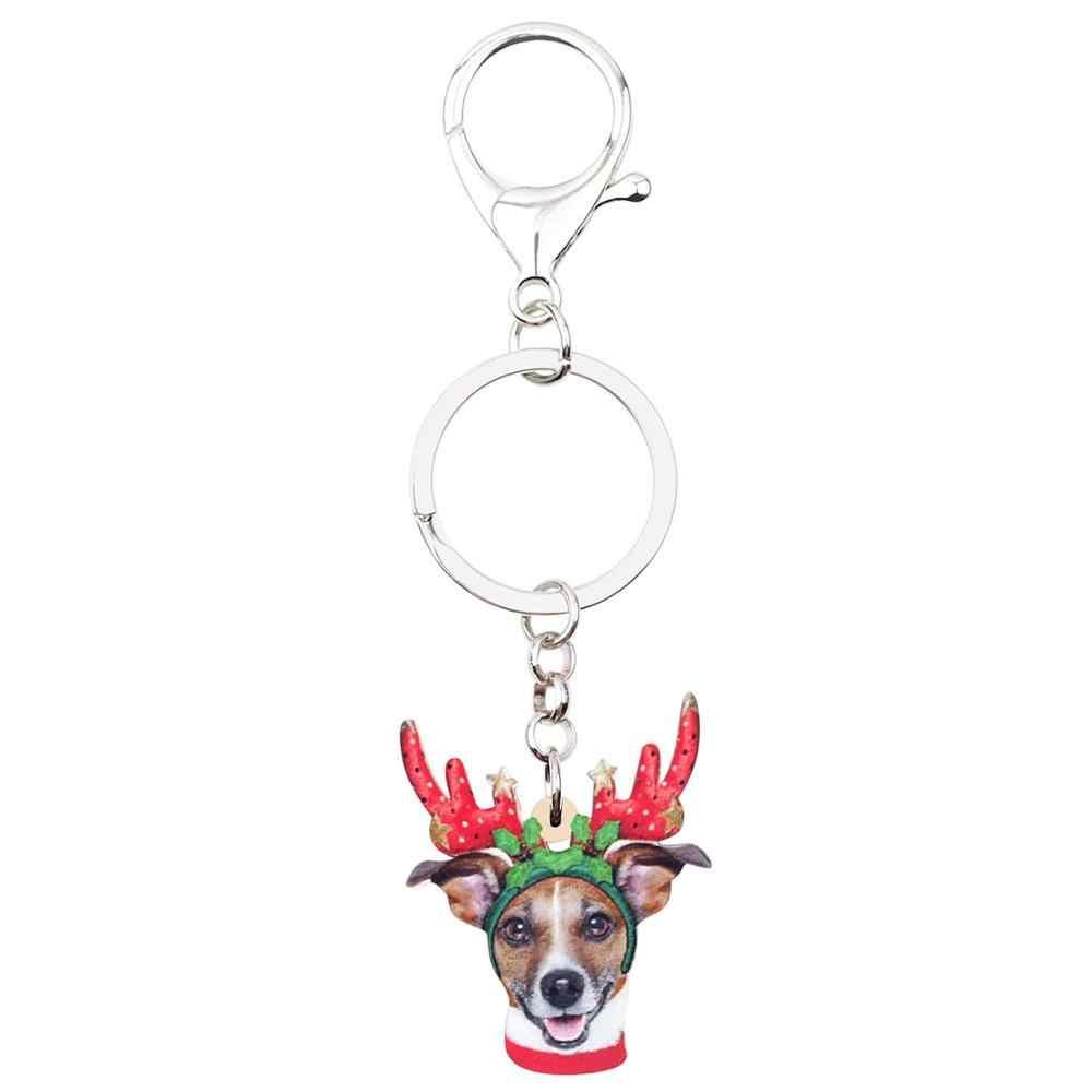 Bonsny Acrylic Giáng Sinh Linh Dương Chó Chihuahua Móc Chìa Khóa Móc Khóa Túi Xe Ví Móc Khóa Nữ Cô Gái Quyến Rũ Tặng Phụ Kiện