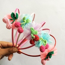 1 Pcs/lot Beautiful Lace Flower Hairbands Knitted Cherry Kids Children Headbands Girls Boutique Hair Hoop Headwear