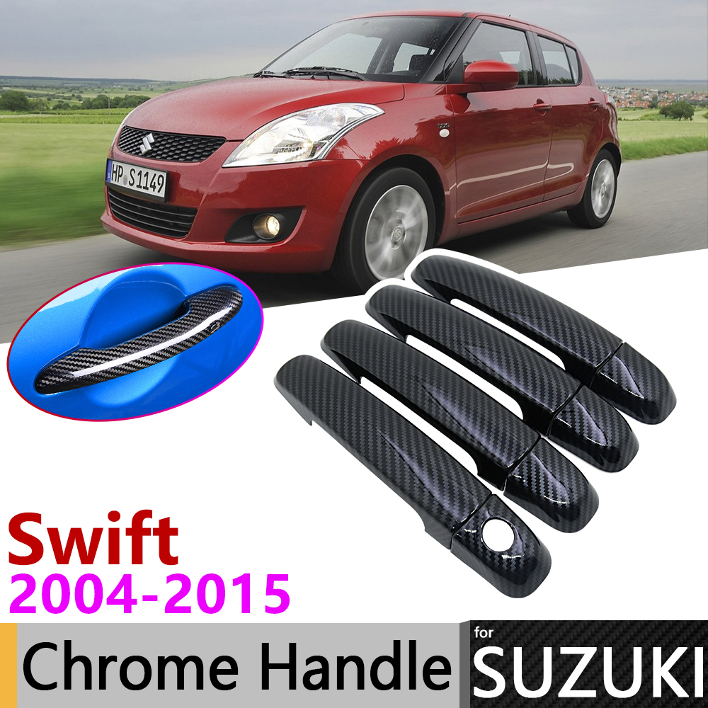 Black Carbon Fiber Door Handle Cover For Suzuki Swift Maruti DZire 2004~2015 2013 2014 Car Accessories Stickers Trim Set Chrome
