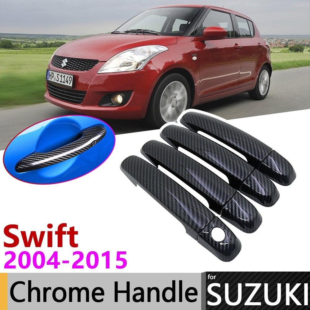 Black Carbon Fiber Door Handle Cover for Suzuki Swift Maruti DZire 2004 2015 2013 2014 Car Accessories Stickers Trim Set Chrome