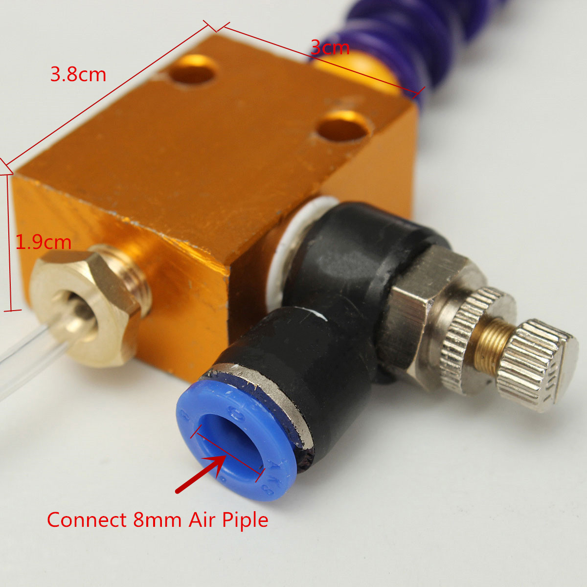 Mist Coolant Mist Lubrication System Unit with 8mm Air Pipe for CNC Milling Dril