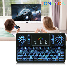 Q9 Mini Wireless Keyboard English 2.4GHz i8 With Touchpad Fly Air Mouse For Android TV Box Remote Control MINI PC With Touchpad q9 mini keyboard 2 4ghz wireless keyboard with touchpad air mouse remote control for android tv box t9 x96 mini max aaa battery