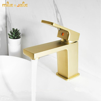 Nordic brushed gold bathroom faucet copper brass basin faucet hot and cold basin sink faucet warm and cold light luxury tap