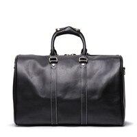 Nesitu Highend New Vintage Large Big Brown Black Genuine Crazy Horse Leather Business Men Travel Bags Male Messenger Bag M9088