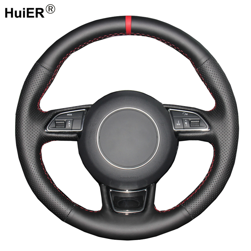 HuiER Hand Sewing Car Steering Wheel Cover For <font><b>Audi</b></font> A1 8X A3 8V <font><b>Sportback</b></font> A4 <font><b>B8</b></font> Saloon Avant <font><b>A5</b></font> 8T A6 C7 A7 G8 A8 D4 S1 8X S3 S4 image