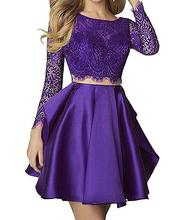 A Line Short Two Pieces Lace Beading Long Sleeve Sequines Scoop Neck Prom Dresses Formal
