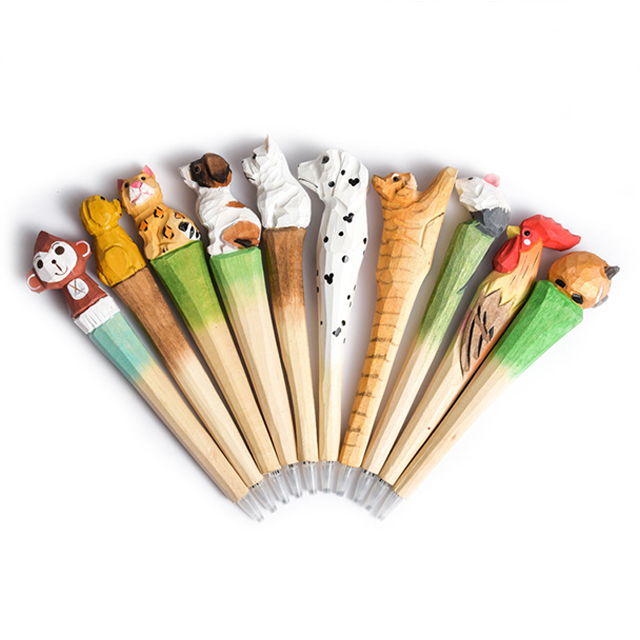 Wooden Gel Pen Animal Cat Wooden Carving Pen Cute Cartoon Pen Novelty Children Gift Student Stationery School Office Supplies