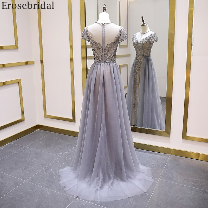 Image 2 - Erosebridal Elegant Short Sleeve Evening Dress 2020 A Line Beads Long Prom Dress O Neck Small Train See Through BackEvening Dresses   -