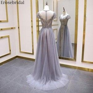 Image 2 - Erosebridal Elegant Short Sleeve Evening Dress 2020 A Line Beads Long Prom Dress O Neck Small Train See Through Back