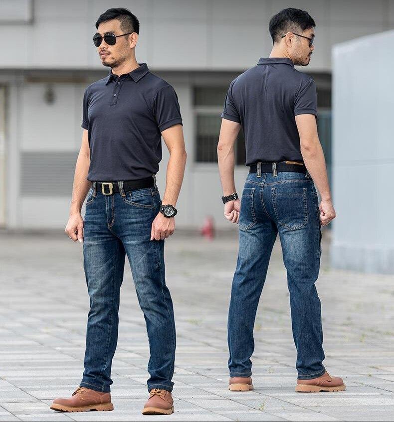 Calça jeans masculina tática, militar, resistente ao
