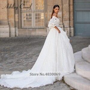 Image 5 - אשלי קרול נסיכת חתונה שמלת 2020 יוקרה חרוזים תחרה מתוקה עם גלימה להסרה אונליין כלה שמלת Vestido דה Noiva