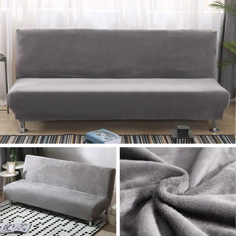 Plush Fabric Fold Armless Sofa Bed