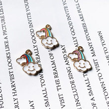 Fashiion Smile Rainbow Clouds Enamel Charms  Alloy Pendants Necklace Earrings Charms for Jewelry Making Bulk wholesale 10pcs zinc alloy enamel rainbow charms jewelry pendants diy earrings necklace making accessory mixed charms