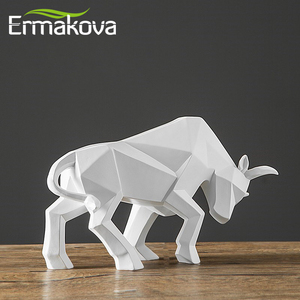Image 4 - ERMAKOVA שרף שור פסל ביזון פיסול קישוט מופשט בעלי החיים צלמית שולחן חדר עיצוב הבית מתנה