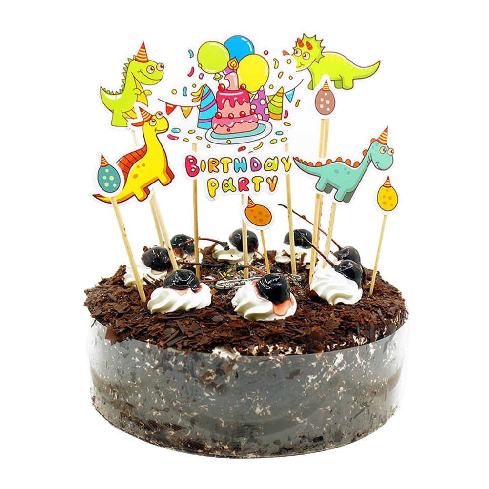 22 Piezas Pastel Toppers Dinosaurio Forma De Huevo Dibujos Animados Lindo Insertar Tarjeta Cupcake Toppers Fruta Topper Postre Para Festival