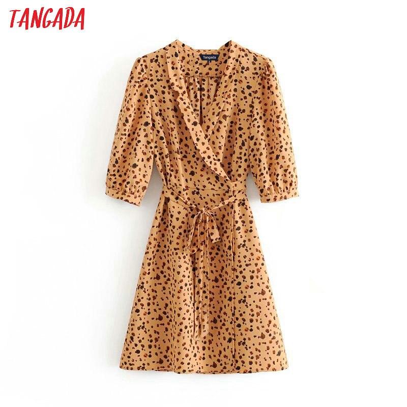 Tangada Women Leopard Print Chiffon Dress Wrap Bow Slash Half Sleeve Casual Split Sexy Party Dress Robe Femme 3D09