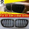 Для BMW 1 пара X1 E84 двойной бар X1M стиль решетка гриль ABS глянец Черный с значком M Спорт представление вид грили 2011-15