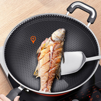 The 5th generation of advanced 304 stainless steel honeycomb wok non stick pan multi functional wok induction cooker universal