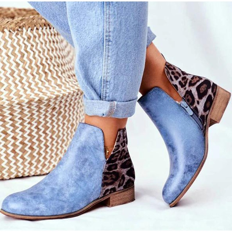 Women Boots Shoes Autumn Winter Ladies Suede PU Leather Short Zipper Low Heels Ankle Pointed Toe Plus Size 2020 Fashion Ladies