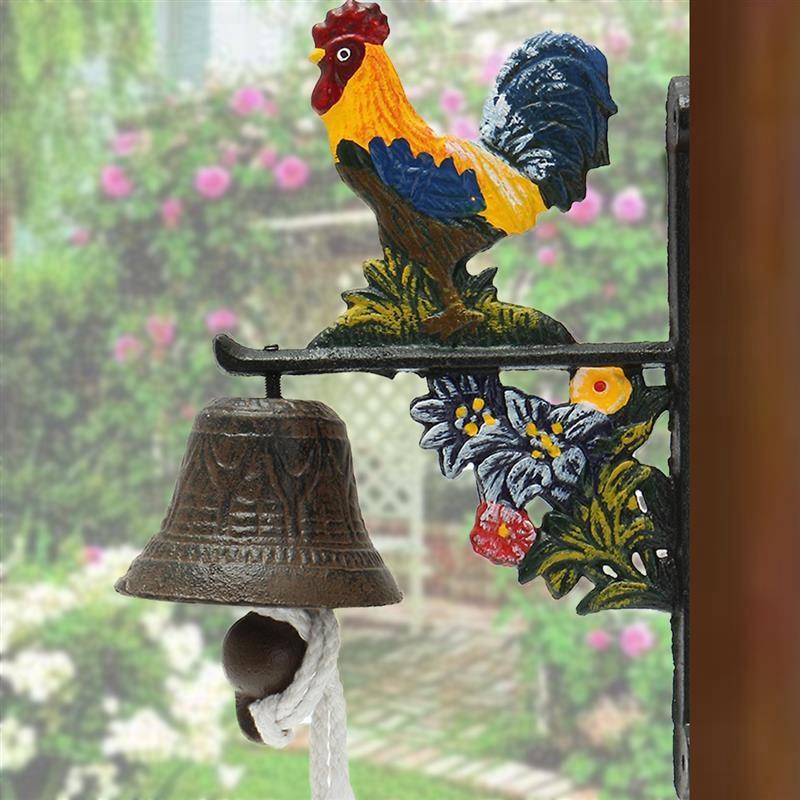Nordic Style Vintage Metal Iron Door Bell Wall Mounted Welcome Cast Wireless DoorBell Porch Garden Decoration