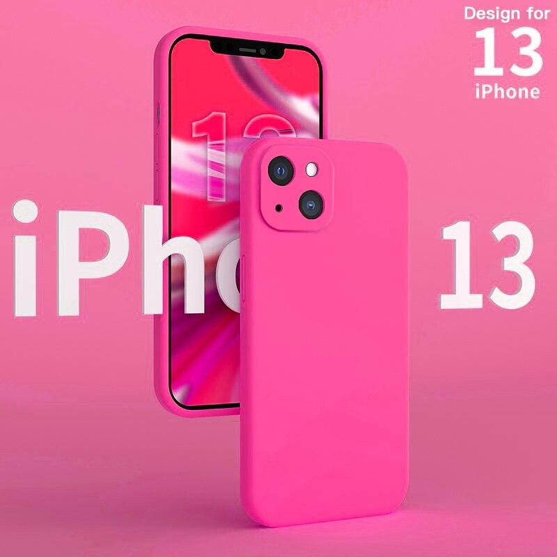 ASM Original Luxury Square Liquid Silicone Phone Case For iPhone 13 12 11 Pro Max Mini XS XR X 8 7 SE 2020 Soft Thin Cover funda