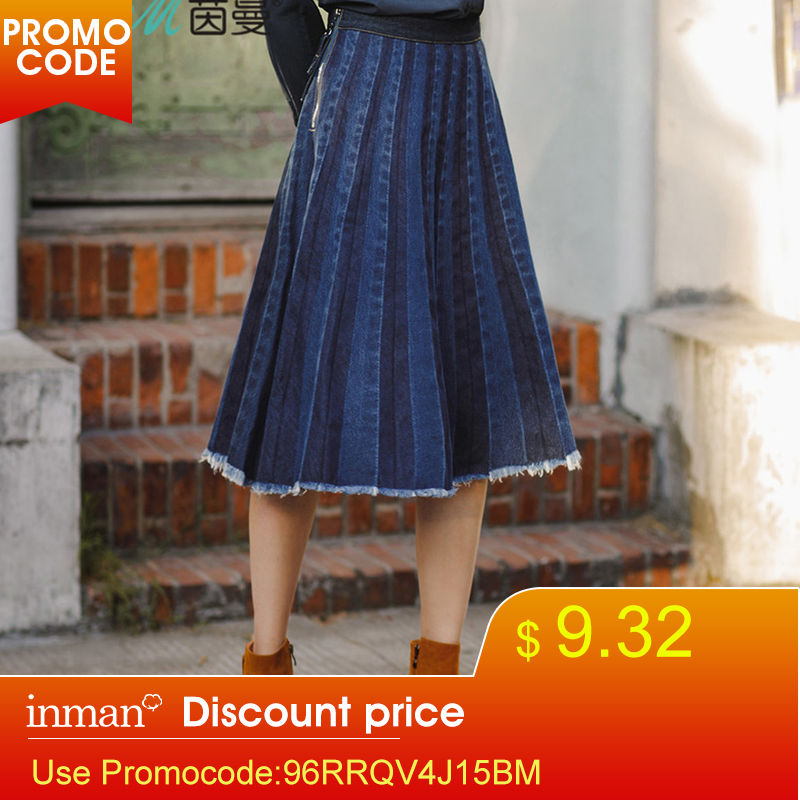 INMAN New Skirt Pleated Denim Skirt A-Line Knee-Length Casual Style Draped Skirt