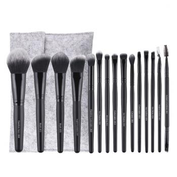 15 sztuk klasyczne czarne pędzle do makijażu wygodne włosy syntetyczne makijaż zestaw pędzli podkład do cieni do oczu kosmetyki narzędzie tanie i dobre opinie COMBO CN (pochodzenie)
