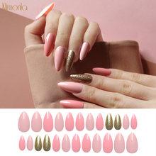 24 шт искусственные ногти в форме шпильки розовые для декорированного