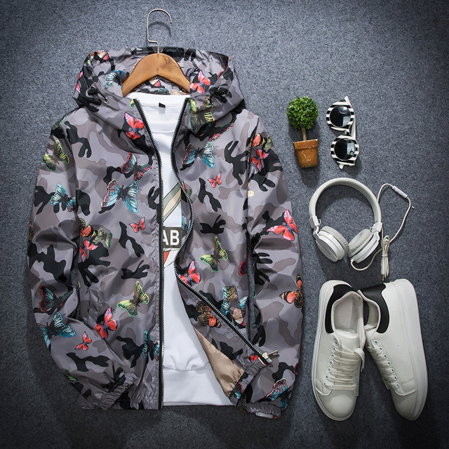Mens Casual Camouflage Hoodie Jacket 2018 New Autumn Butterfly Print Clothes Men's Hooded Windbreaker Coat Male Outwear WS505 4