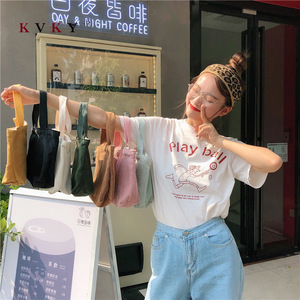 Women Shopping Bag Grocery Simple Print Letter Fashion Mini Casual Corduroy bolsa reutilizable Wild Canvas Cotton Ecobag Totes(China)