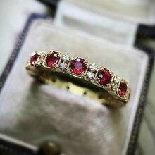 Антиквариат Ювелирные изделия18k золото заполненный натуральный красный рубин драгоценный камень бриллиант кольцо день рождения годовщина подарок невеста свадьба помолвка кольцо