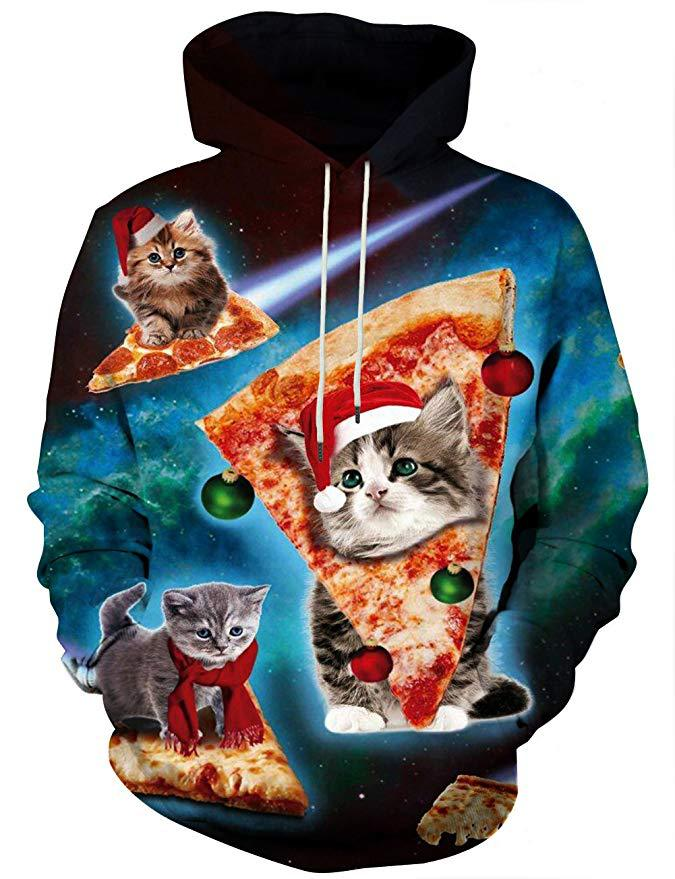 2019 Autumn And Winter New Style Europe And America Men'S Wear Pizza Cat 3D Digital Printing Hoodie Sweater Customization Add Lo